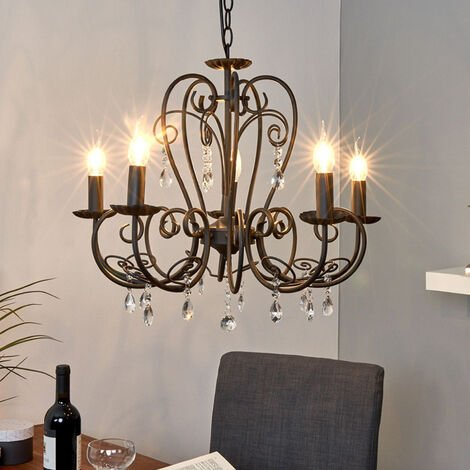 Ceiling Light 'Sophina' dimmable (antique, vintage) in Black made of Metal (5 light sources, E14, A++) from Lindby   chandeliers, lighting, Lamp, pendant light, hanging lamp, lamp, ceiling lamp