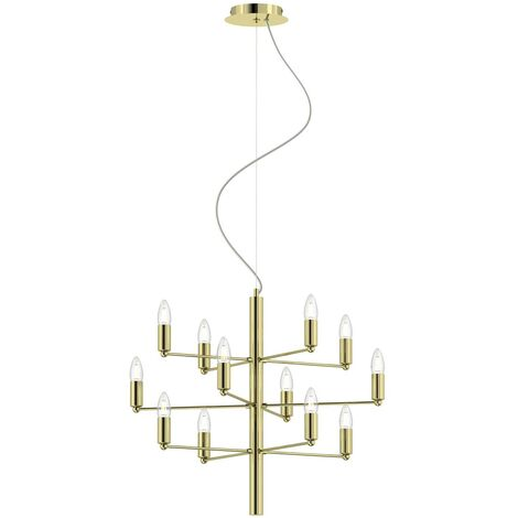 Ceiling Light 'Tadina' dimmable (modern) in Gold made of Metal (12 light sources, E14, A++) from Lindby   chandeliers, lighting, Lamp, pendant light, hanging lamp, lamp, ceiling lamp