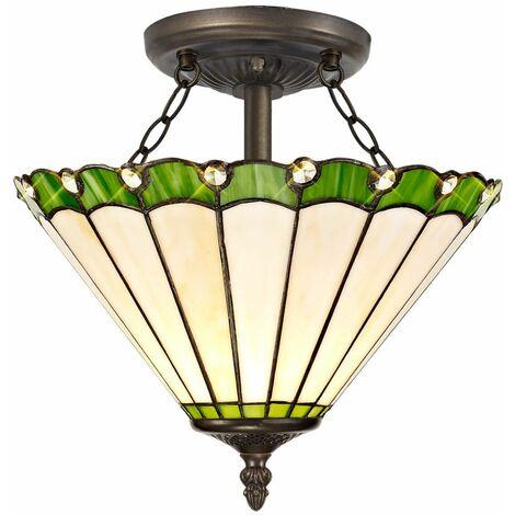 Ceiling light Tiffany Calais 2 Bulbs Green 29,5 Cm