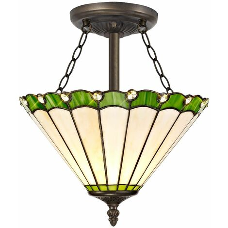 Ceiling light Tiffany Calais 3 Green Bulbs 40,5 Cm