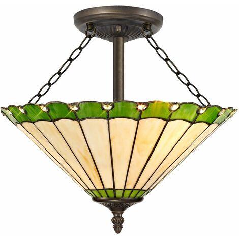 Ceiling light Tiffany Calais 3 transparent and green bulbs 40,5 Cm