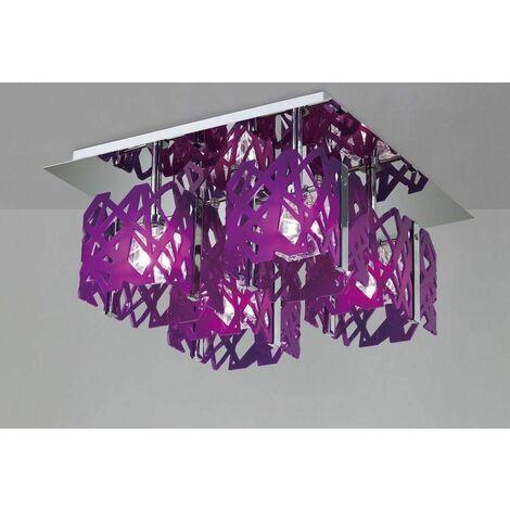Ceiling light Tokio 4 Bulbs G9, Purple / polished chrome