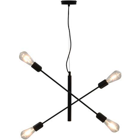 Ceiling Light with Filament Bulbs 2 W Black E27