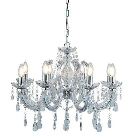 Ceiling Lighting Decor 8 Light Crystal Chrome Finish Fitting Chandelier