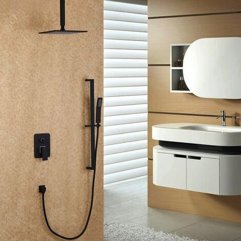 Ceiling Mount Shower Head and Slide-In Hand Shower System in Black 200mm