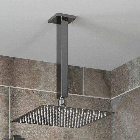 Ceiling Mounted Head 200mm Chrome Square Rainfall Fixed Shower Arm Slimline