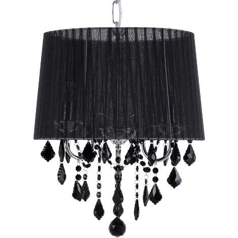 Ceiling Pendant Lamp Light Chandelier Shade Crystals Glam 3 Light Black Evans