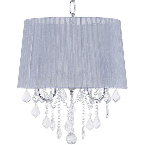 Ceiling Pendant Lamp Light Chandelier Shade Crystals Glam 3 Light Grey Evans