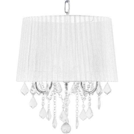 Ceiling Pendant Lamp Light Chandelier Shade Crystals Glam 3 Light White Evans