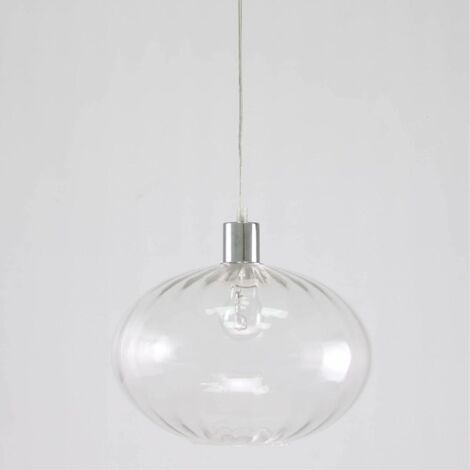 Ceiling pendant light chrome & clear 60W E27 dimmable contemporary