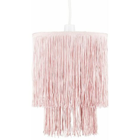 Ceiling Pendant Light Shade 2 Tier Tassel Easy Fit + Lightbulb - Pink