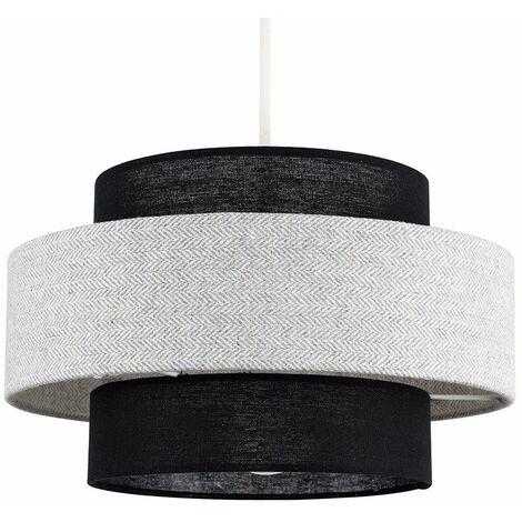 Ceiling Pendant Light Shade Black & Grey Herringbone - LED Bulb - Grey