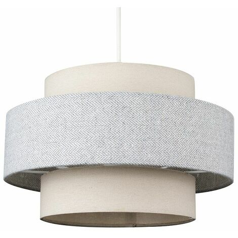 Ceiling Pendant Light Shade Cream & Grey Herringbone Finish 10W LED Gls Bulb - Warm White