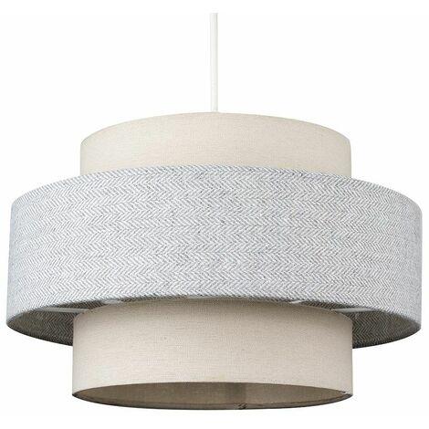 Ceiling Pendant Light Shade Cream & Grey Herringbone Finish 10W LED Gls Bulb - Warm White - Cream