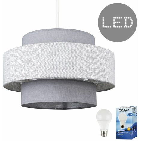 Ceiling Pendant Light Shade Dark Grey & Light Grey Herringbone Finish 10W LED Gls Bulb - Warm White