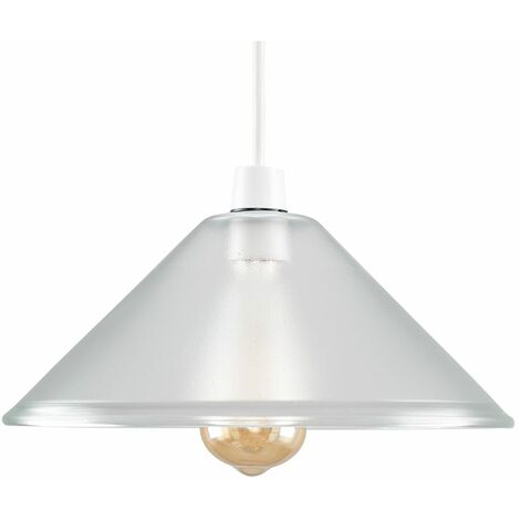 Ceiling Pendant Light Shade Frosted Glass Easy Fit Interior Light - Silver
