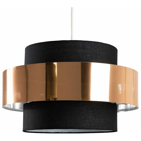 Ceiling Pendant Light Shade In A Black & Copper Finish - 6W LED Gls Bulb Warm White