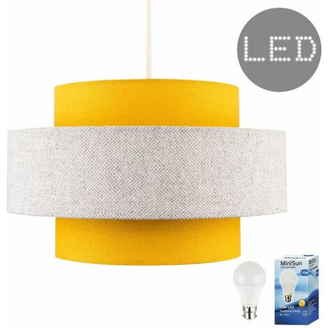 Ceiling Pendant Light Shade Mustard & Grey Herringbone Finish 10W LED Gls Light Bulb - Warm White - Yellow