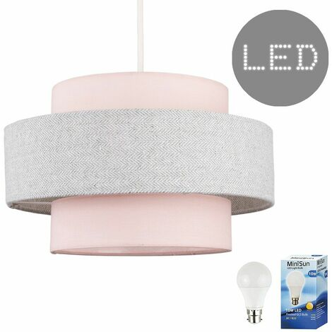 Ceiling Pendant Light Shade Pink & Grey Herringbone Finish - 10W LED Gls Bulb Warm White