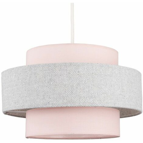 Ceiling Pendant Light Shade - Pink & Grey - Pink