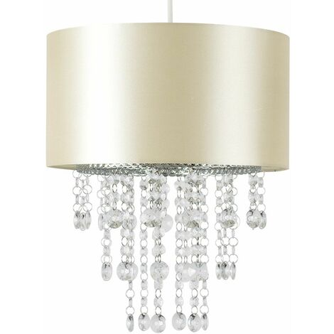 Ceiling Pendant Light Shade with Acrylic Jewel Droplets + 6W LED GLS Bulb