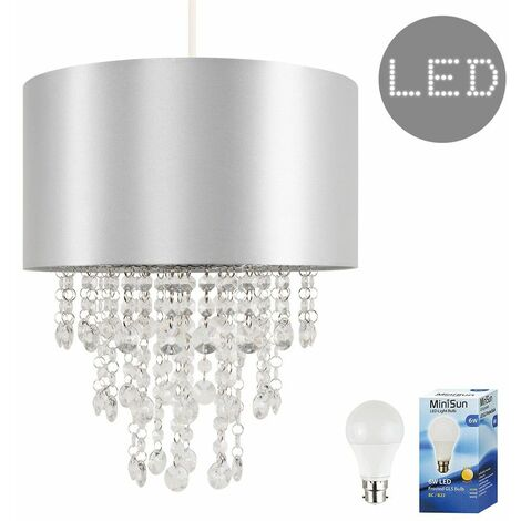 Ceiling Pendant Light Shade with Acrylic Jewel Droplets + 6W LED GLS Bulb - Grey