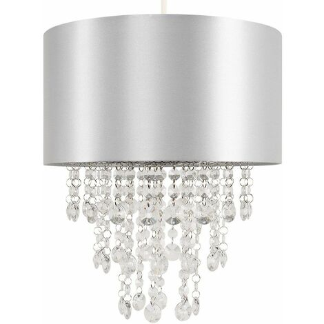 Ceiling Pendant Light Shade with Acrylic Jewel Droplets - Grey - Grey