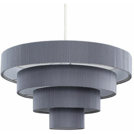 Ceiling Pendant Light Shades Lounge Easy Fit4 Tiered Silver Grey - Add LED Bulb