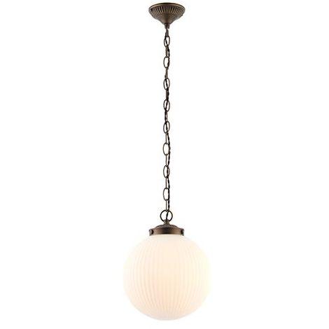 Ceiling Pendant Matt Opal Glass Shade Decorative Chain Finish In Antique Brass