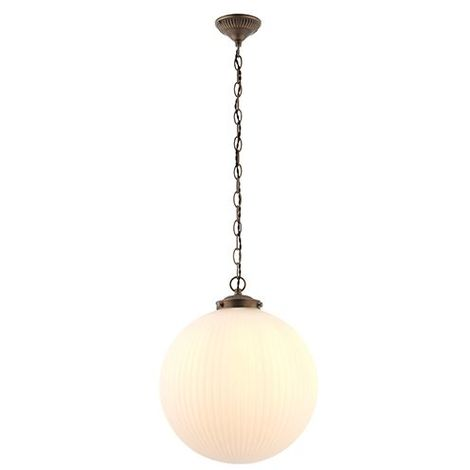 Ceiling Pendant Opal Duplex Glass Shade Decorative Antique Brass Chain Finished