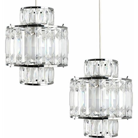 Ceiling Pendant Shades Chrome 2X Acrylic Easy Fit Lampshades Lounge Lights