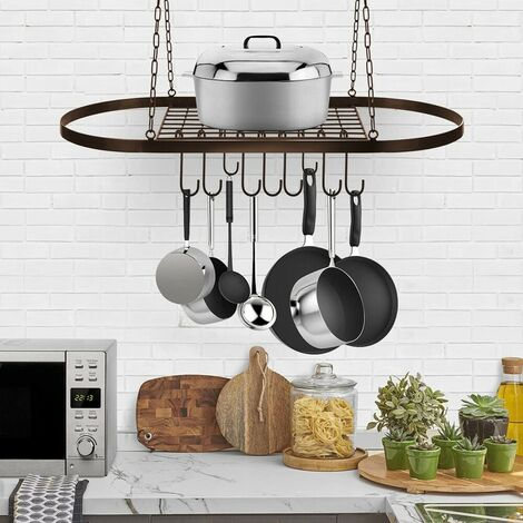 Ceiling Pot and Pot Rack with Hooks Decorative Oval Storage Rack Multipurpose Organizer for Home Restaurant Kitchen Cookware Books Household Dish not included?(bronze, without hooks)