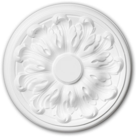 Ceiling Rose 156010 Profhome Ceiling Decoration Medallion Rosette Decorative Element Neo-Classicism style white Ø 19.3 cm