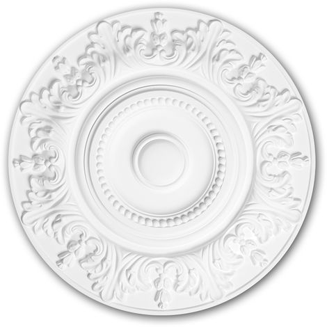 Ceiling Rose 156020 Profhome Ceiling Decoration Medallion Rosette Decorative Element Rococo Baroque style white Ø 47 cm