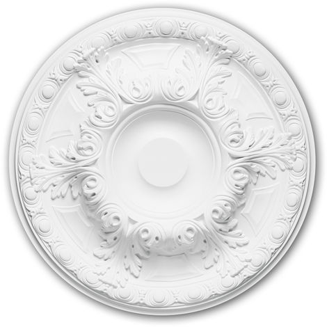 Ceiling Rose 156021 Profhome Ceiling Decoration Medallion Rosette Decorative Element Neo-Renaissance style white Ø 49 cm