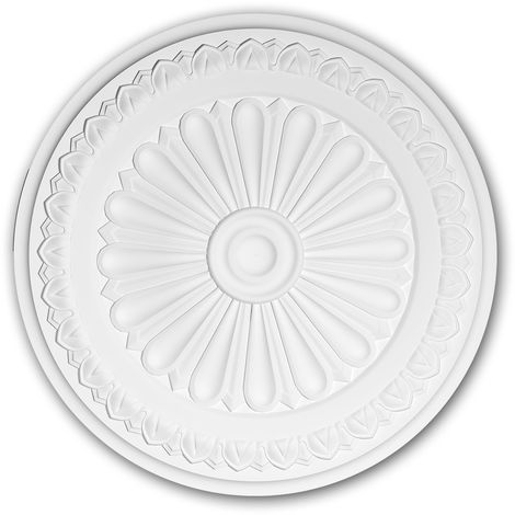 Ceiling Rose 156037 Profhome Ceiling Decoration Medallion Rosette Decorative Element Neo-Classicism style white Ø 33 cm