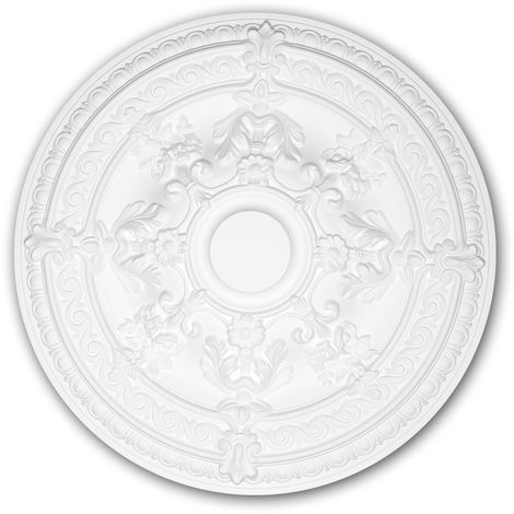 Ceiling Rose 156039 Profhome Ceiling Decoration Medallion Rosette Decorative Element Rococo Baroque style white Ø 65.9 cm