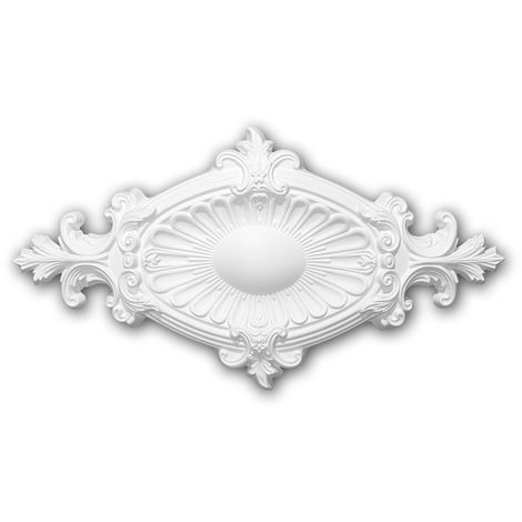 Ceiling Rose 156043 Profhome Ceiling Decoration Medallion Rosette Decorative Element Neo-Empire style white 58.5 x 31.5 cm