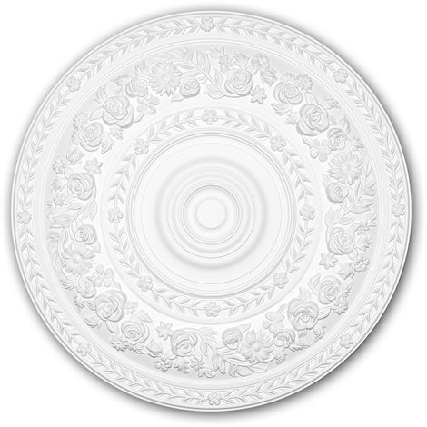 Ceiling Rose 156046 Profhome Ceiling Decoration Medallion Rosette Decorative Element Rococo Baroque style white Ø 86 cm