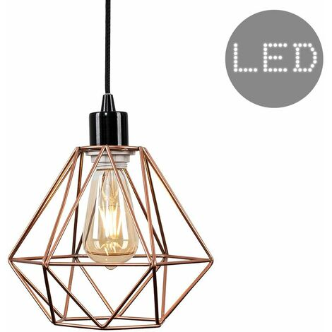 Ceiling Rose Braided Flex Lampholder Pendant Light with a Metal Basket Cage Shade - 4W LED Filament Bulb