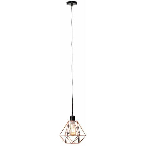 Ceiling Rose Braided Flex Lampholder Pendant Light with a Metal Basket Cage Shade
