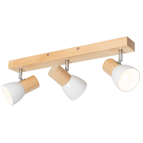 """main image of """"Ceiling spotlight wood with white 3-light adjustable - Thorin"""""""