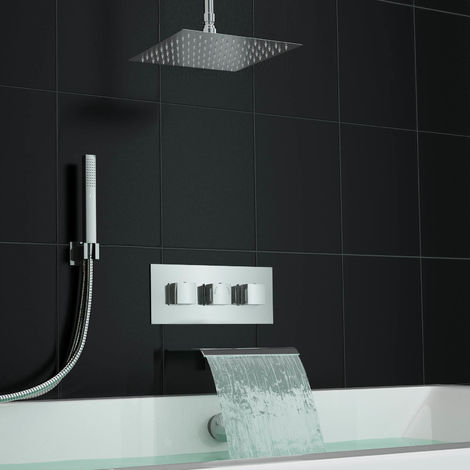 Ceiling Square Waterfall Bath Filler Kit And Concealed 3 Way Mixer Shower Valve