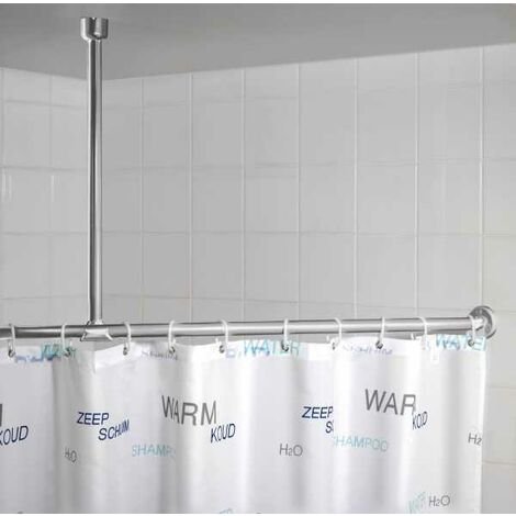 Ceiling support for telescopic shower rail