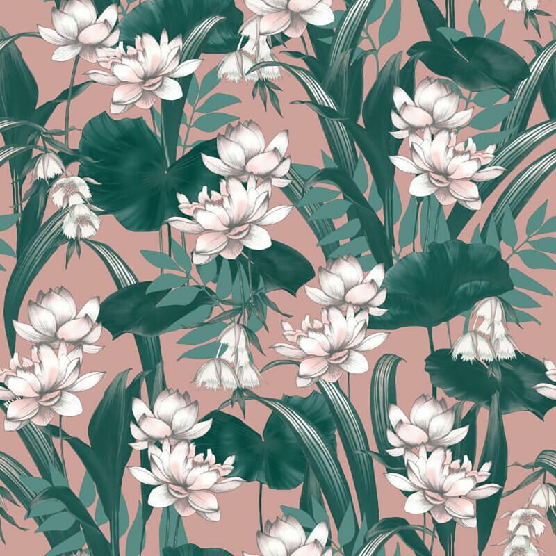 Image of Celeste Wallpaper Accessorize Tropical Floral Green Pink Paste The Wall
