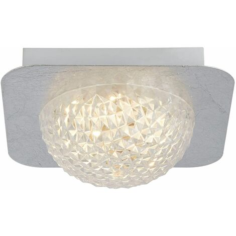 Celestia 1 liter square led ceiling light - silver leaf with transparent acrylic