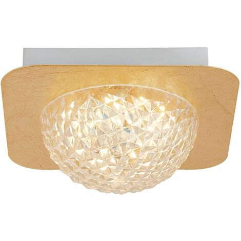 Celestia square led ceiling light 1 liter - gold leaf with transparent acrylic