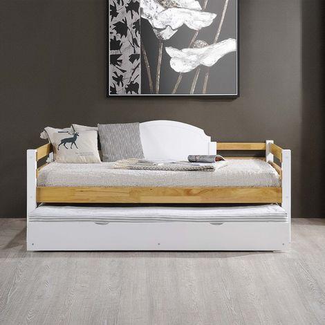CELESTIN - Lit gigogne banquette en bois blanc 90 x 190 cm