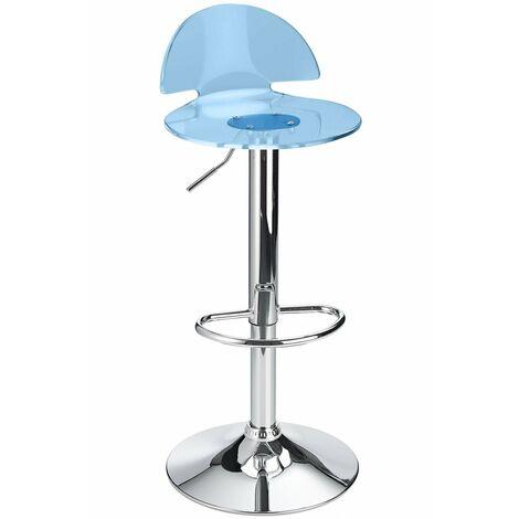 Celeston Blue Kitchen Breakfast Bar Stool Perspex Transparent Height Adjustable Grey Acrylic