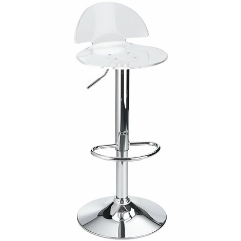 Celeston Clear Kitchen Breakfast Bar Stool Perspex Transparent Height Adjustable Clear Acrylic